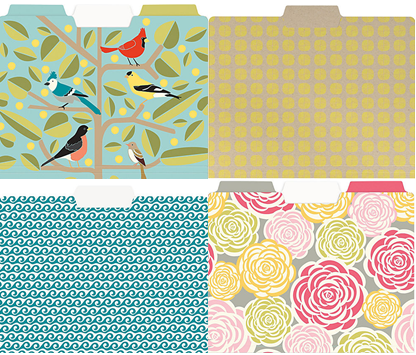 Bird, Sunshine, Waves and Roses file folders from PaperSource.