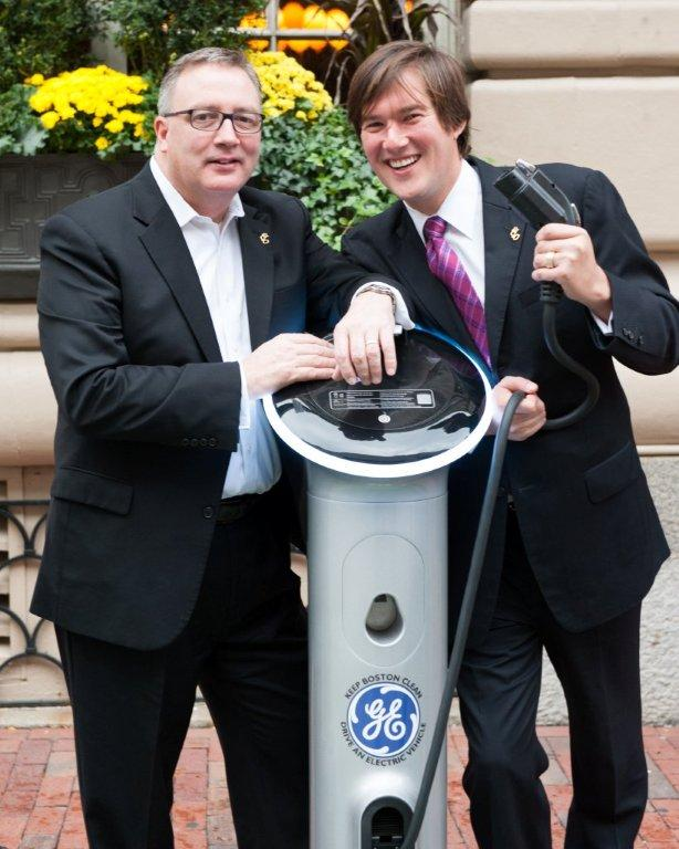 Left to right:  Lenox Hotel's V.P. and Managing Director Daniel Donahue and Director of Sales & Marketing Scott Grigelevich at the new GE WattStation