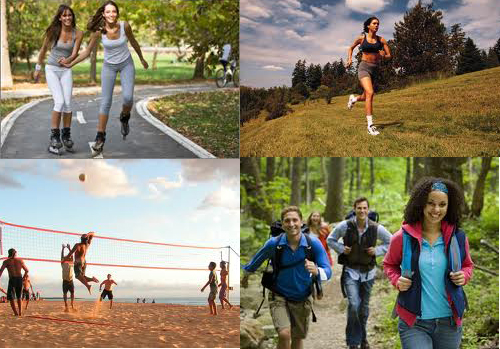 Some great choices for cardio activity that can help you achieve your fitness goals include volleyball, bike riding, roller blading and walking/hiking.