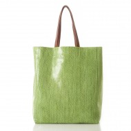 Sorial Rubina Snakeskin Embossed Tote in Kiwi