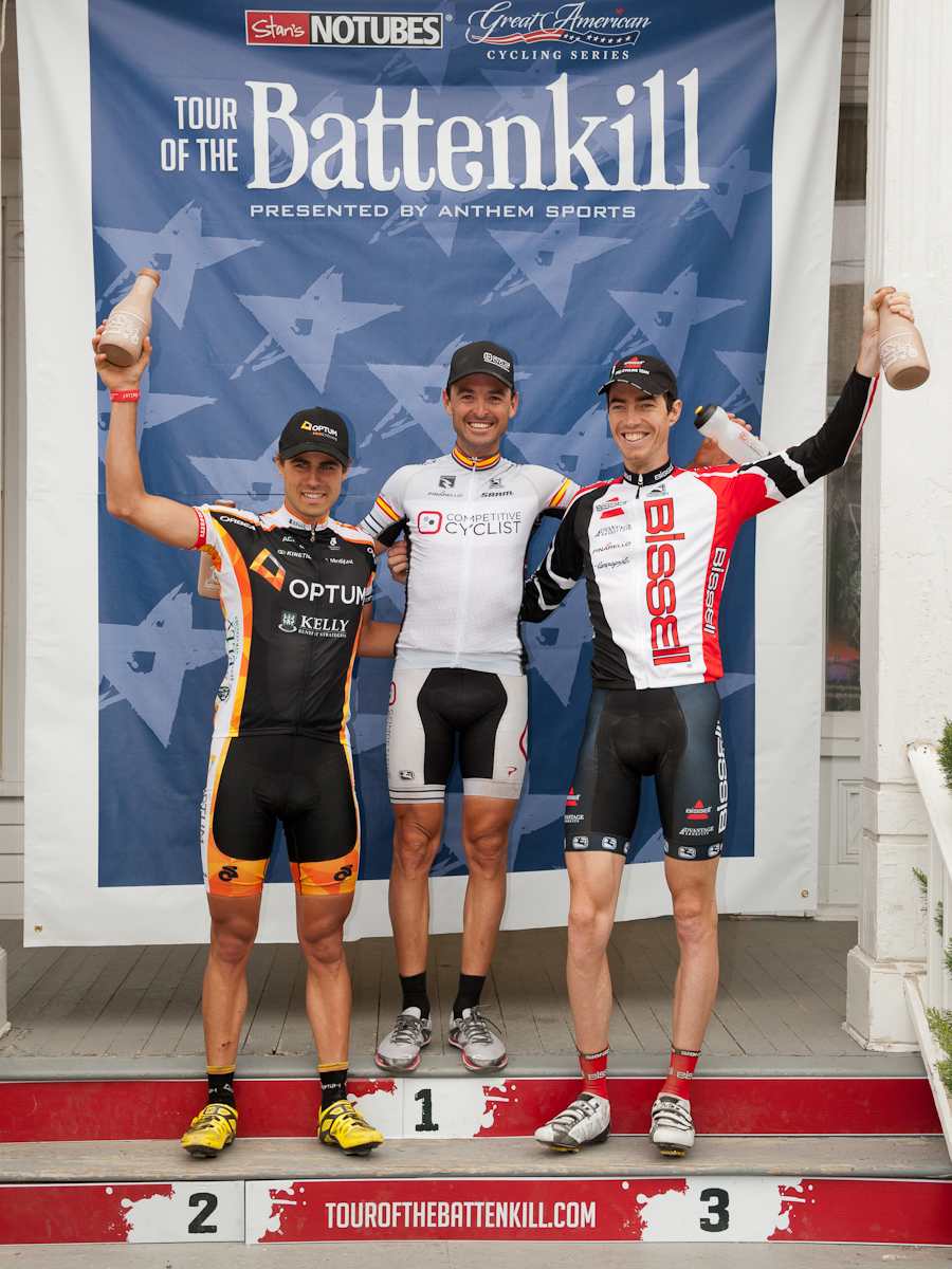 Tour of the Battenkill podium with Mancebo on top. The burly race started with 161 cyclists, 59 finished. Photo credit: Darrell Parks.