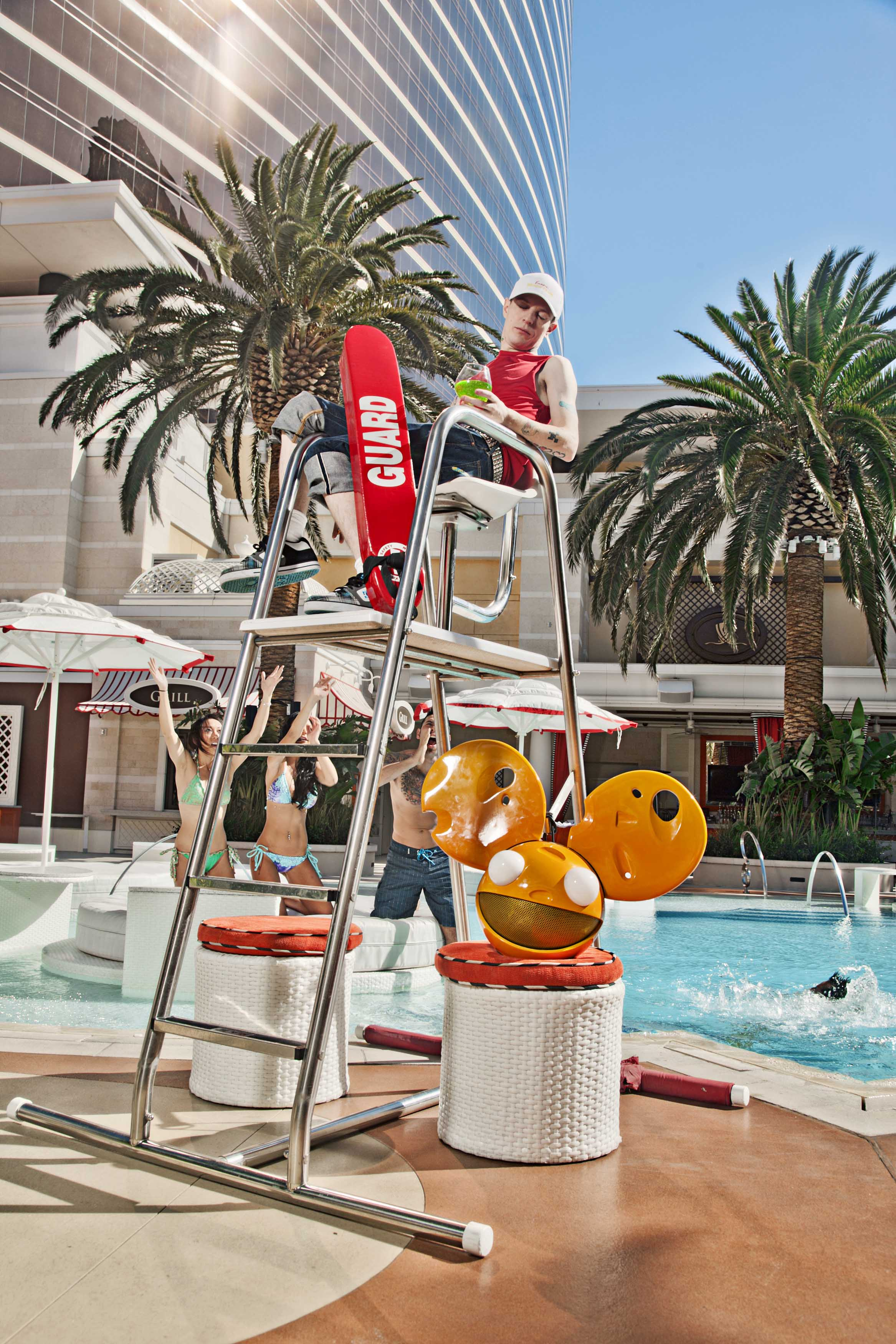Electronic artist deadmau5 tries his shot as a lifeguard at Encore Beach Club during his job search at Wynn Las Vegas. Deadmau5 has developed an exclusive partnership for 2012 with XS, Encore Beach Club, and Wynn Las Vegas. Photo credit: Brian Brown Photography.
