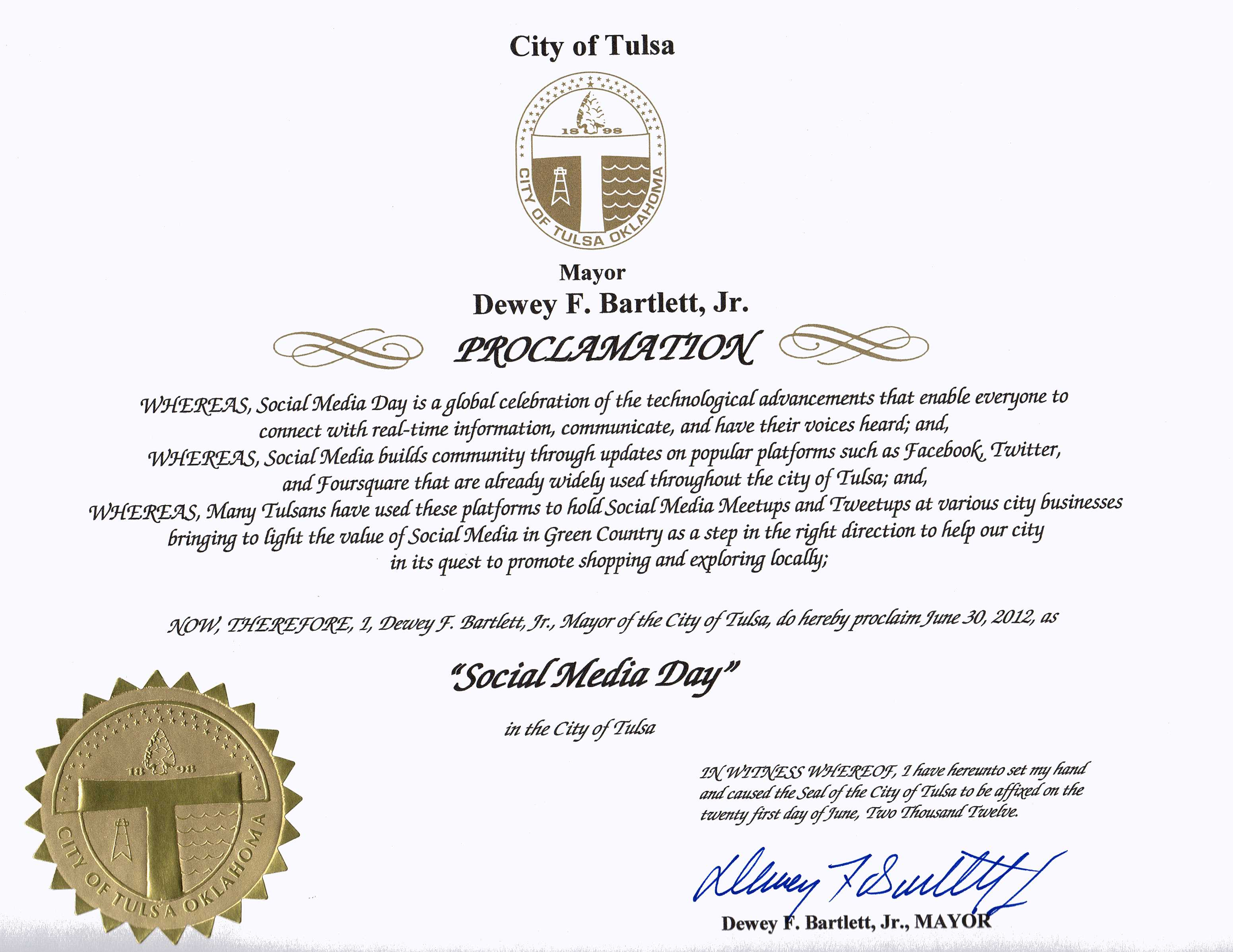 Tulsa Proclaims June 30 Social Media Day.  Image of Proclamation