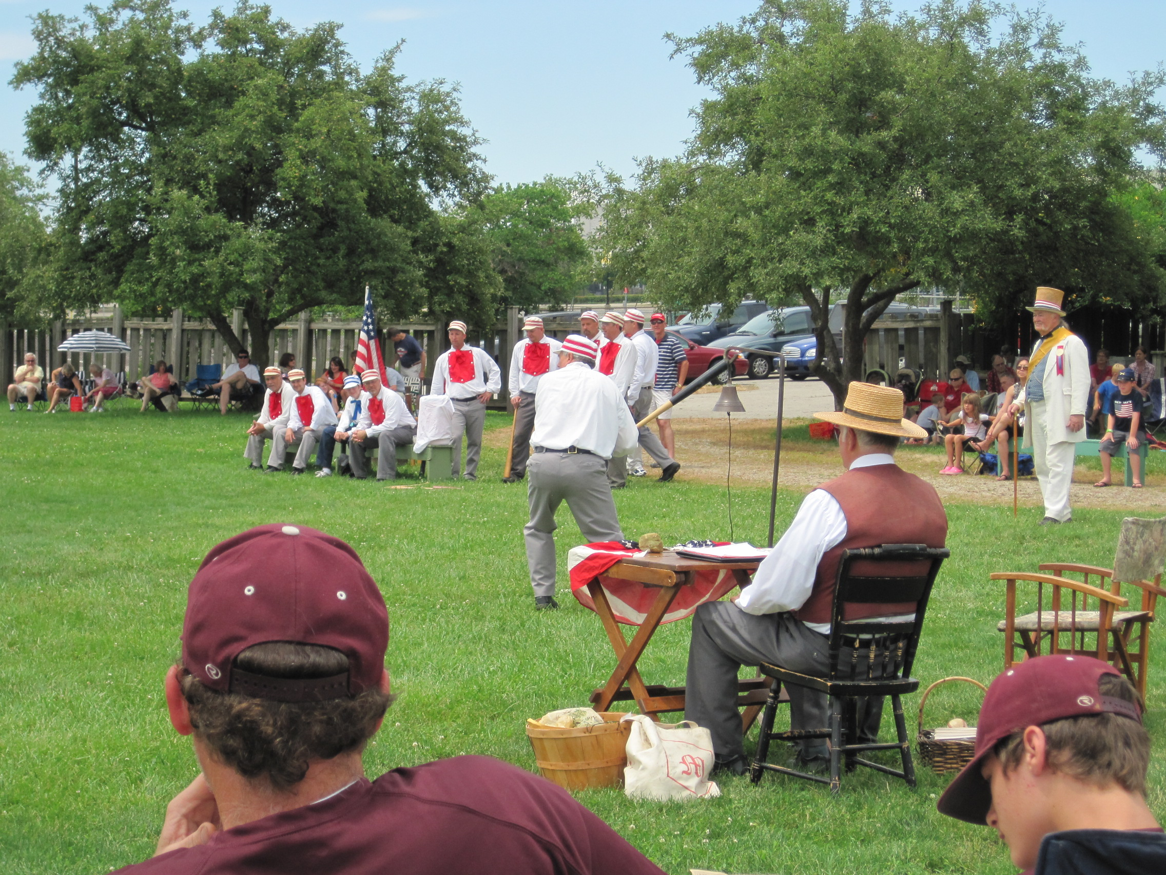 The famous Ohio Village Muffins play a game of base ball during the Glorious Fourth celebration.