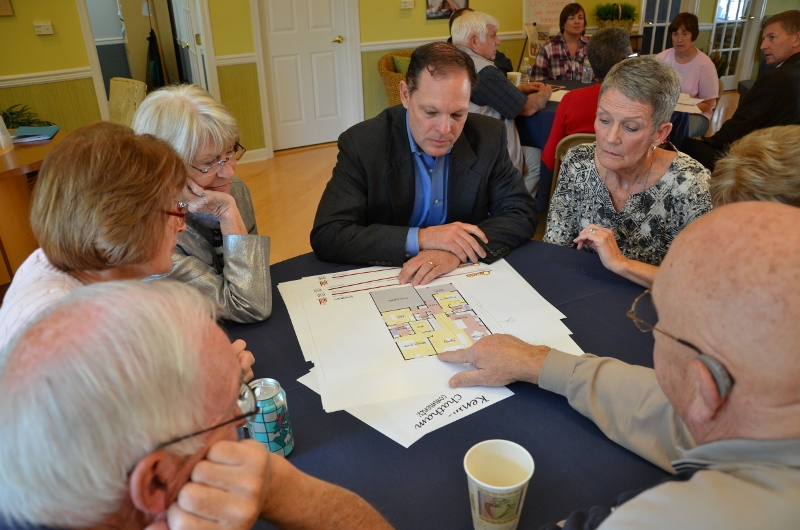 Mike Palmer, Orleans Homes Northeast Division President, listens to suggestions from his group of current and prospective residents at an event at the Chester County Hillview Community.  The event was designed to gather feedback about the new floor plans for active adult communities.