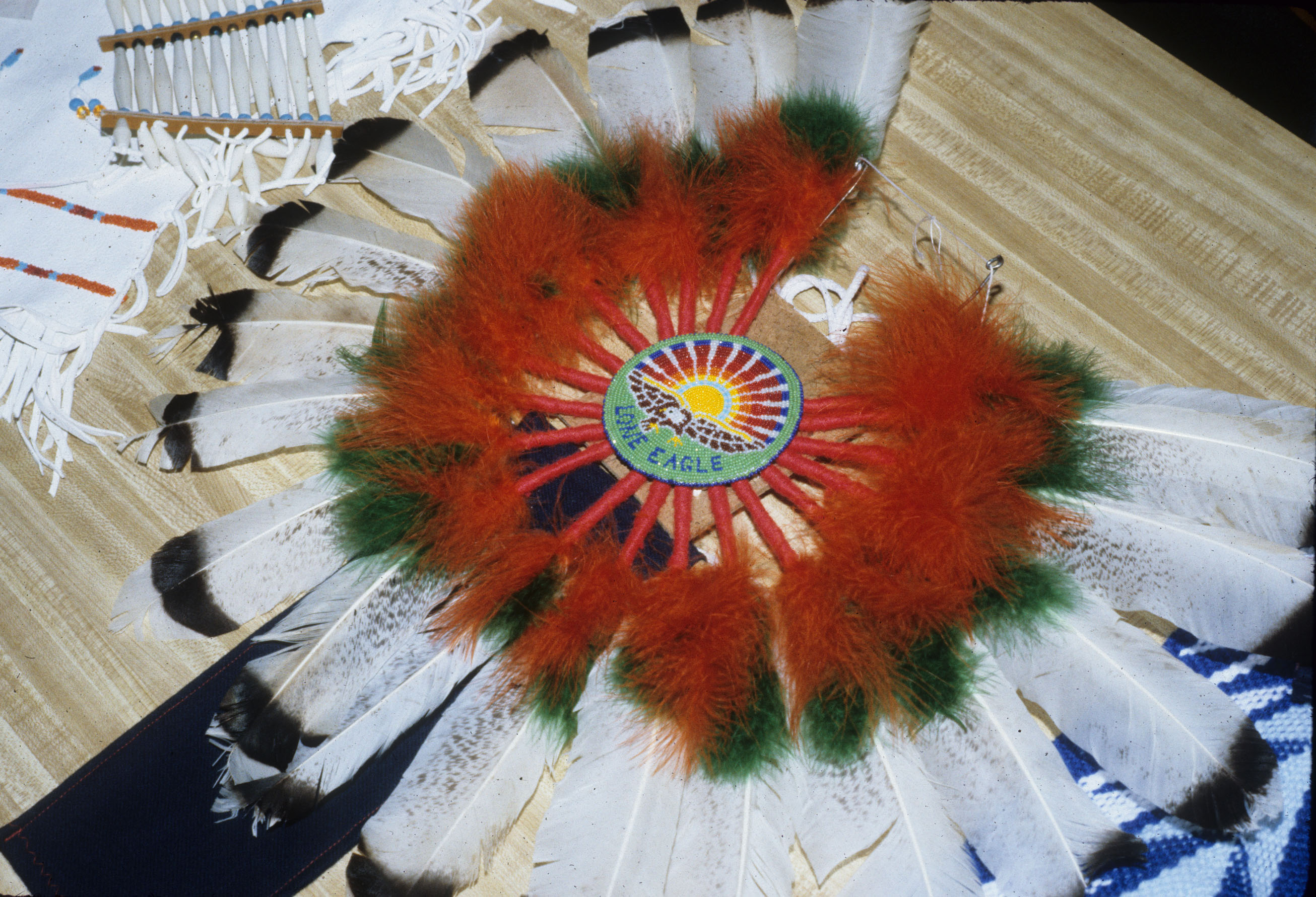Bustle by Gerald Hawpetoss of Neopit, WI, a member of the Menominee Nation.  Gerald was named a National Heritage Fellow by the National Endowment of the Arts in 1992.