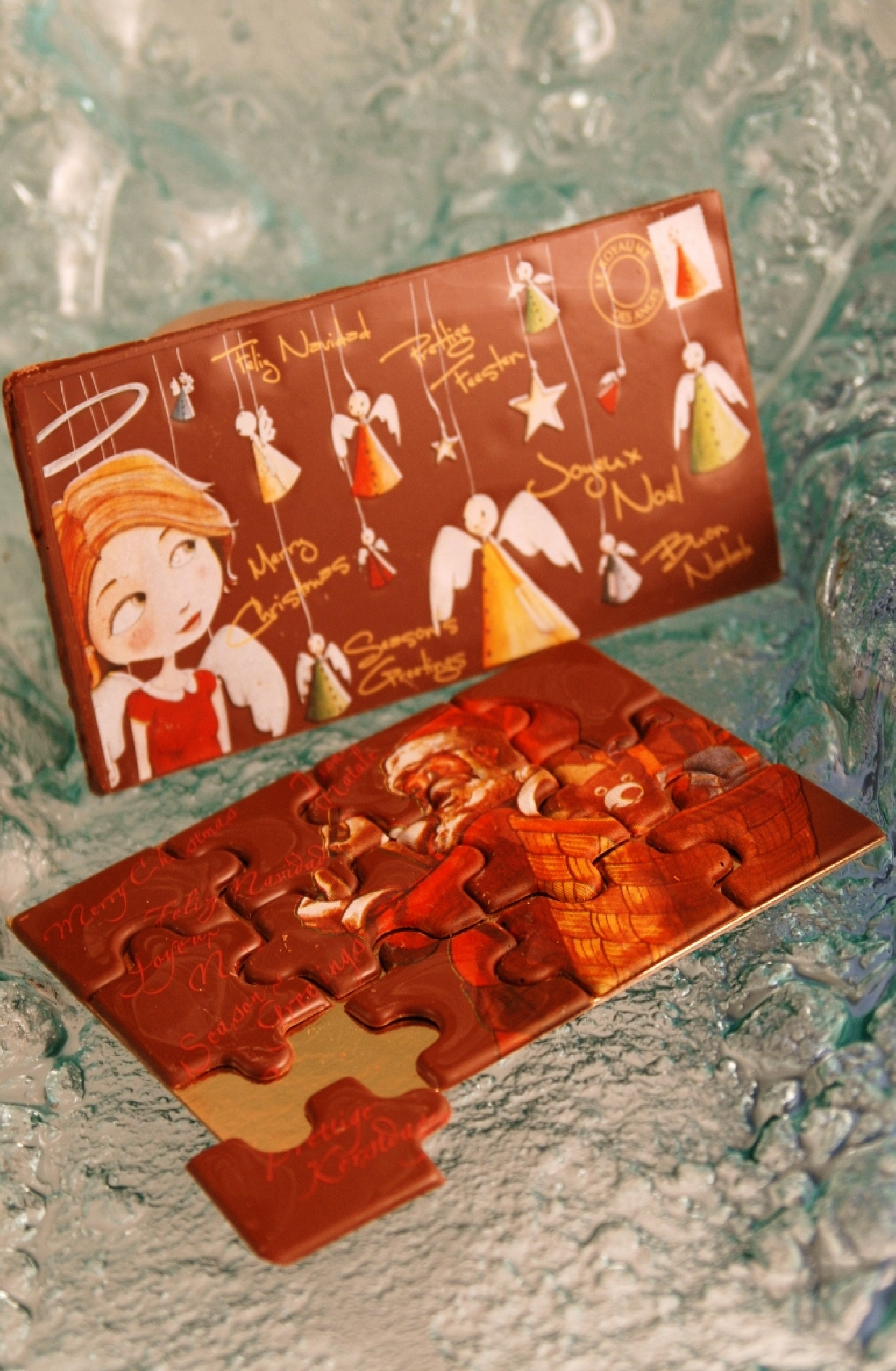 Interactive chocolate Christmas puzzle and chocolate postcard