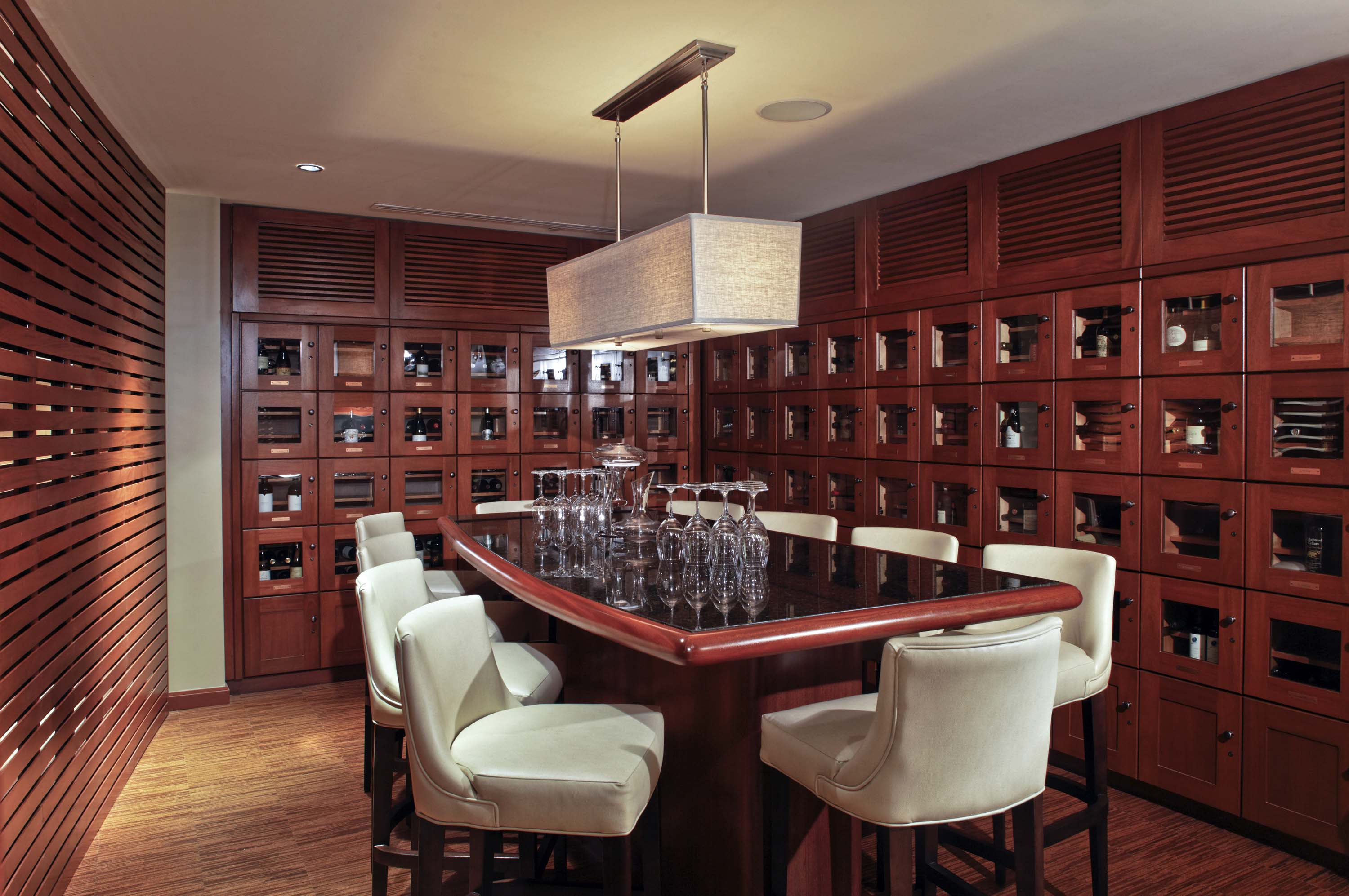 conditioned wine lockers house individual members collections in the private dining room - Private Dining Rooms