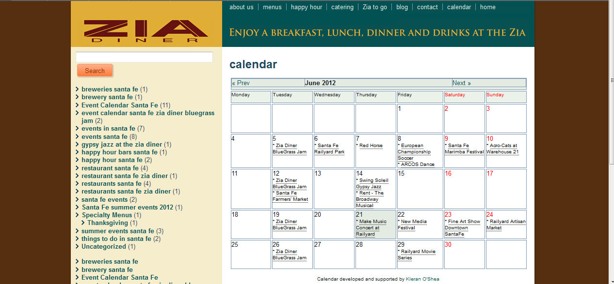 Event Calendar Santa Fe - Zia Diner Sets Up New Showcase Event Calendar on Company Website