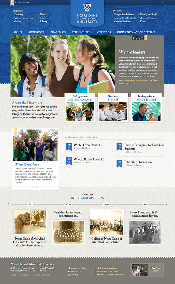 Notre Dame of Maryland University's site combines beautiful design with intuitive site navigation.