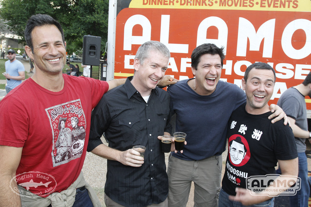 "Dogfish Head's Sam Calagione, Alamo's Tim League and actors Ken Marino and Joe Lo Truglio ham it up before the ""Blazing Saddles"" quote-along."