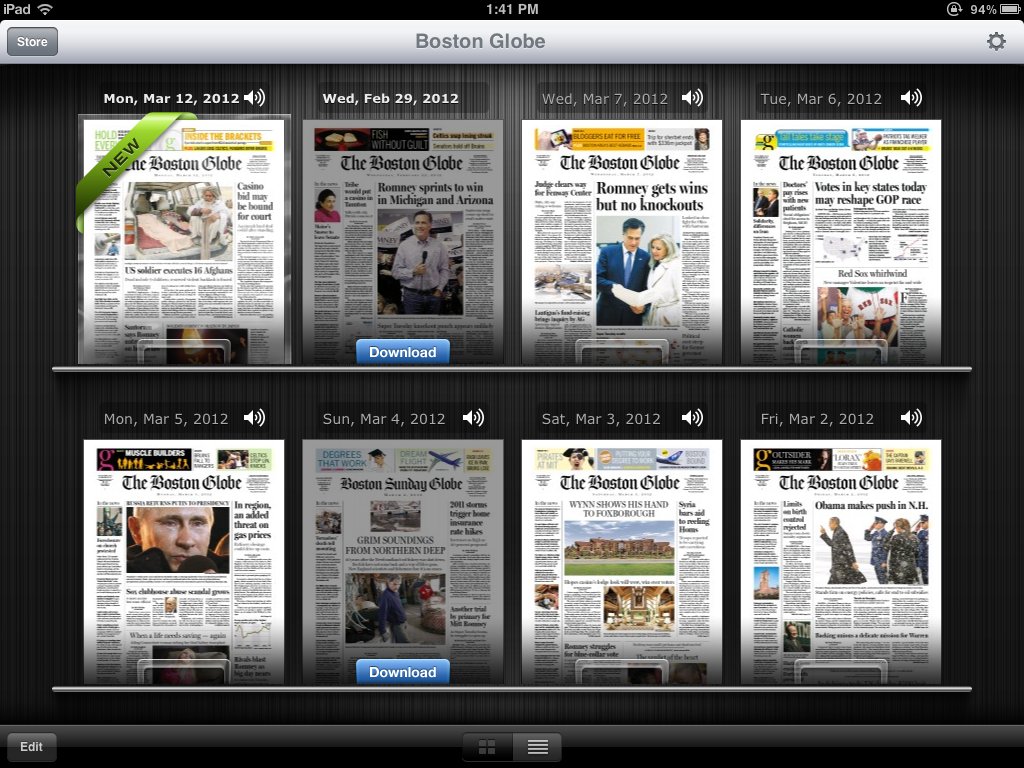 Multiple Boston Globe's on iPad in iTunes newsstand