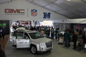 Football fans in Philadelphia enjoy test drives and other activities at a GMC event during in the 2011-12 NFL season