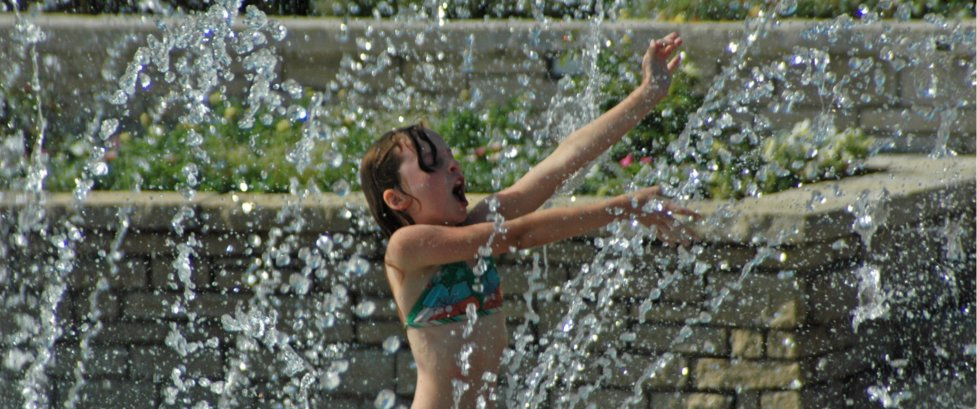 Kids 12 and under can splash in the Fountain Garden for FREE through July 8.