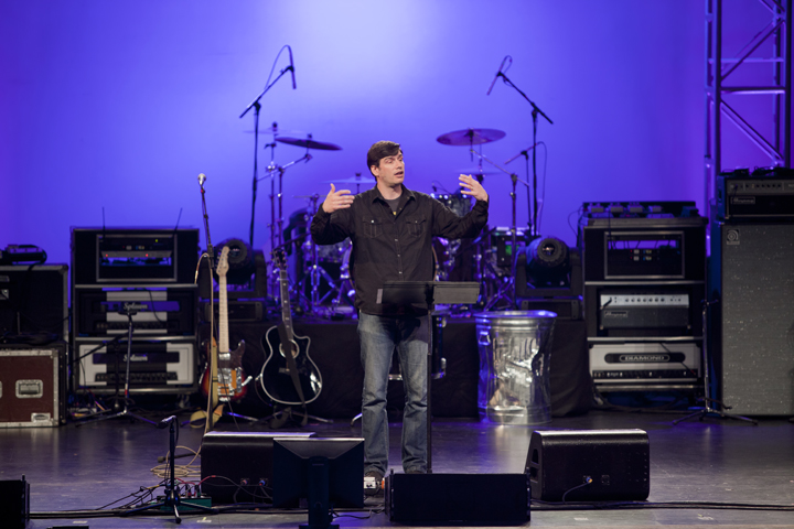 Will Graham preaching at the Performing Arts Center in Terrell, Texas, as part of the Trinity Valley Will Graham Celebration.