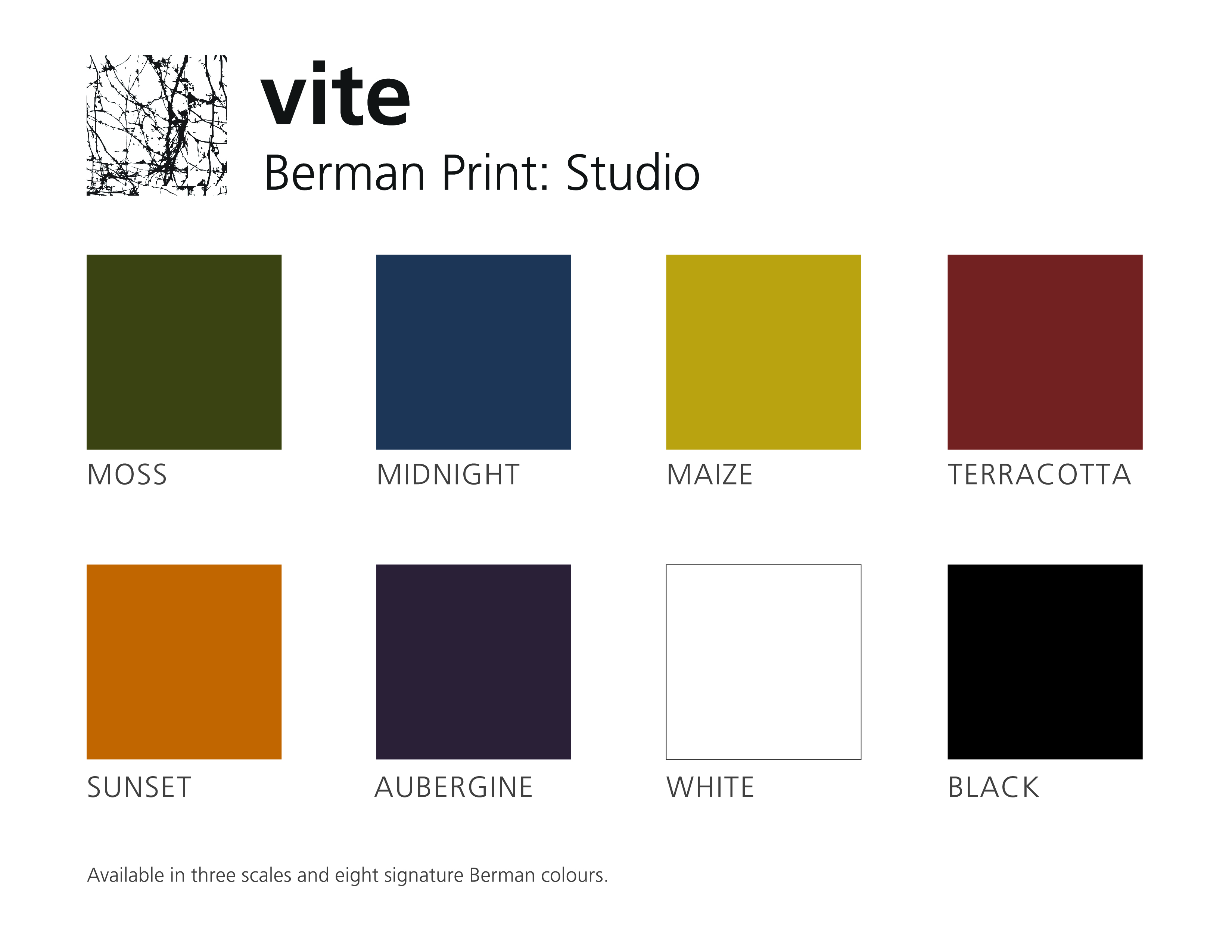 Vite is offered in eight signature Berman colourways and three different scales of the pattern.