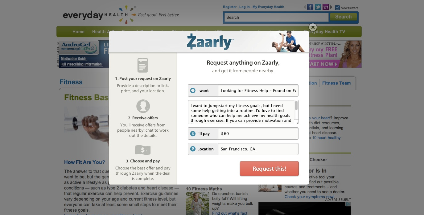 Everyday Health Zaarly Anywhere Request