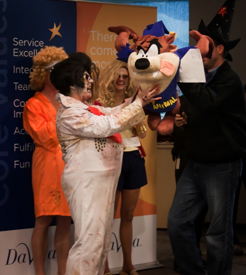 DaVita paralegal Julie Jacks places first in the individual Halloween costume contest.