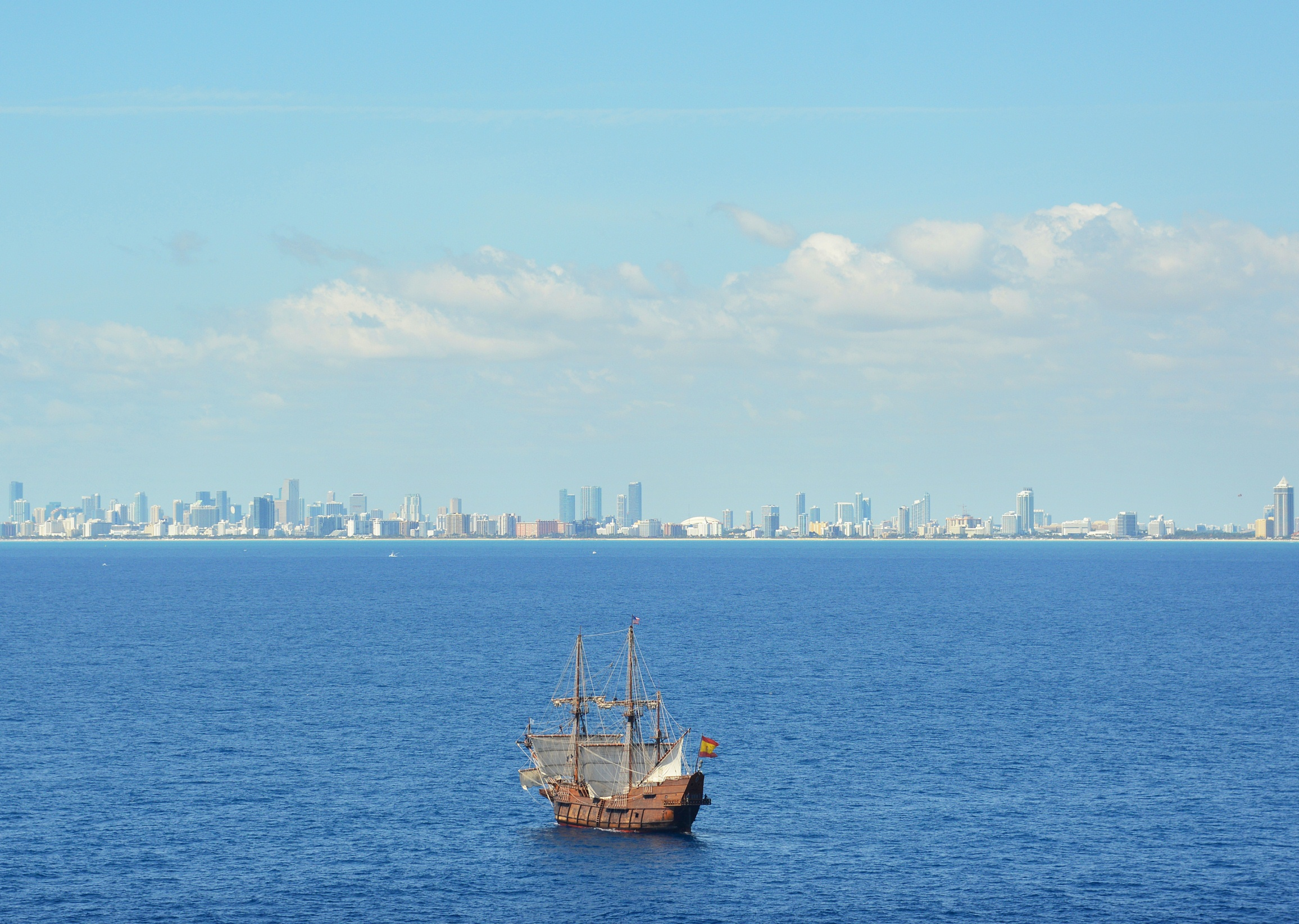El Galeón arrives in Miami (April 8) from Puerto Rico. The Viva Florida 500 Voyage originated in Spain. The ship will visit four Florida ports. Credit Peter W. Cross, VISIT FLORIDA.