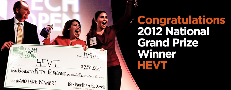 "HEVT of Chicago, Illinois, won the Grand Prize ""Cleanie"" award, which is bestowed on the Top Cleantech Entrepreneur of 2012"
