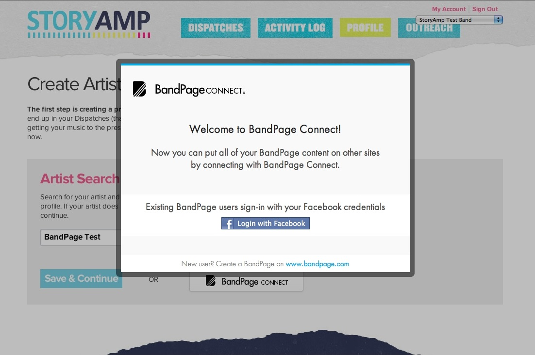 BandPage Connect on StoryAmp