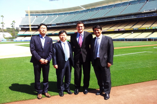 On the field at the Dodger's Stadium, April 9, 2012.