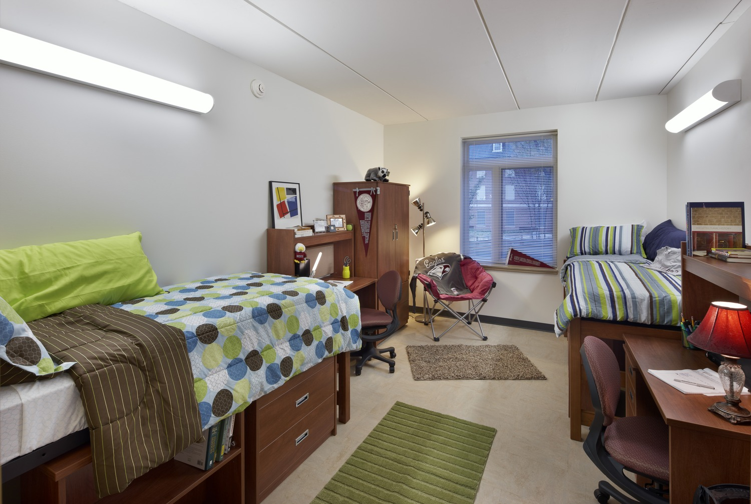 Most (241) of Chidley North's student living spaces are double-occupancy units, each with its own bathroom. c James West /JWest Productions
