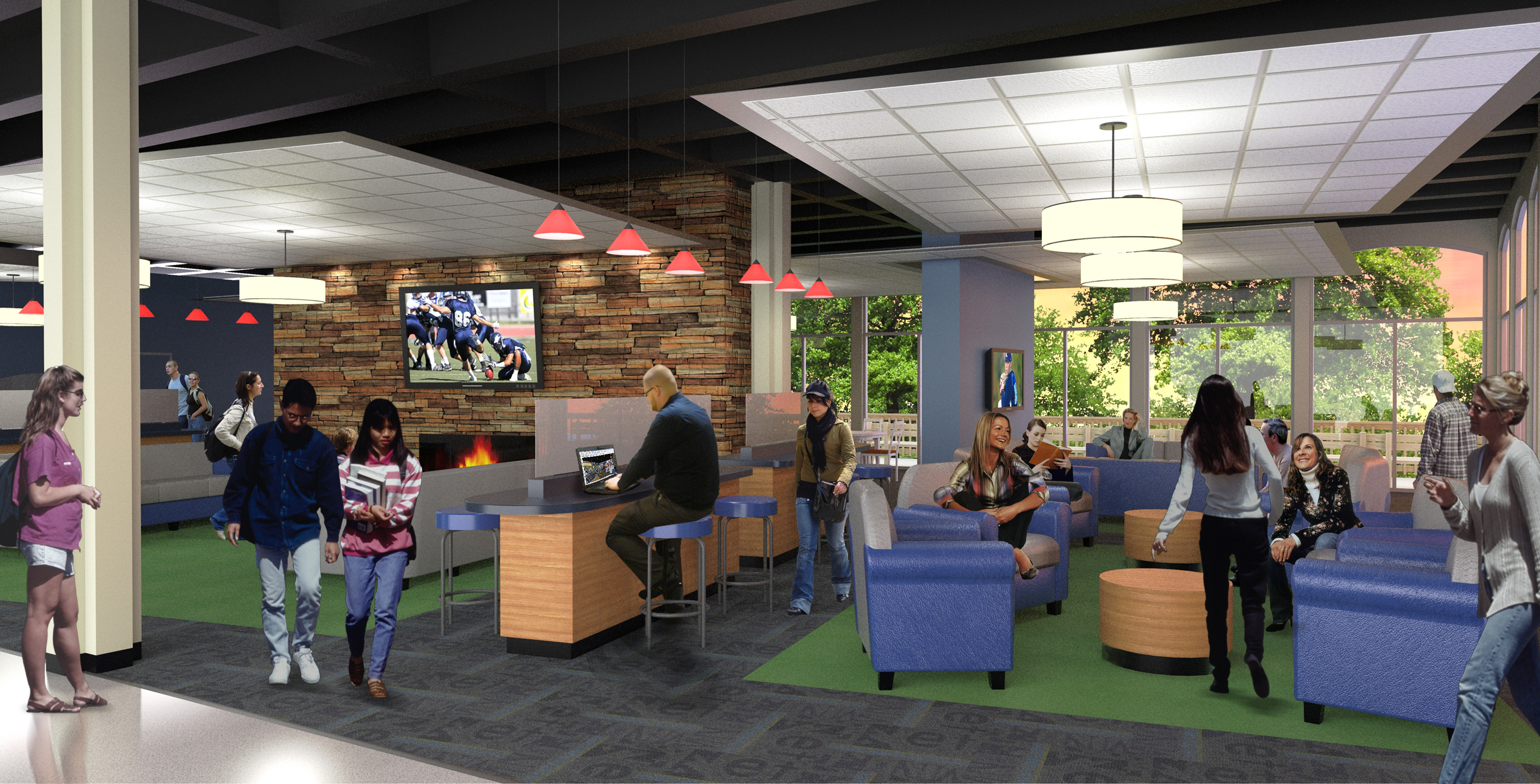 When renovations are complete this fall, the top floor lounge of Janzow Campus Center at Concordia University, Nebraska will feature new furniture, flat screen TVs and stonework wall partitions complete with a gas fireplace as shown in this 3-D rendering.
