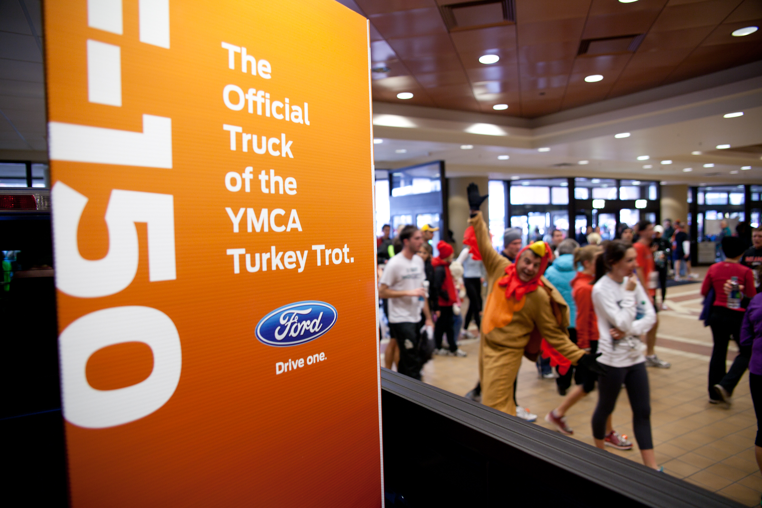 The mascot is excited that WNY Ford sponsored the 116th annual YMCA Turkey Trot.