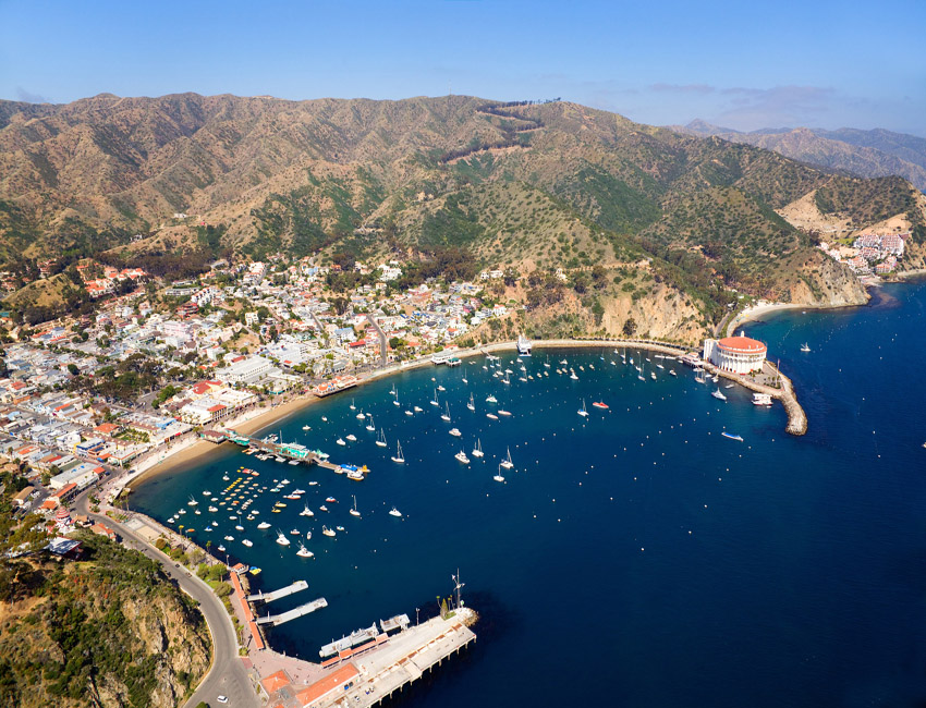 Aerial view of Avalon on Catalina Island