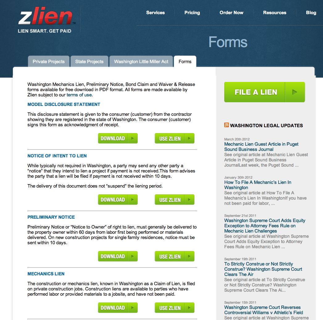 The Zlien free Mechanics Lien forms and resources section identifies each document available in the state, and allows users to download the form (for free) or to order the document from Zlien, who will process the order, have the document prepared and electronically filed or delivered.