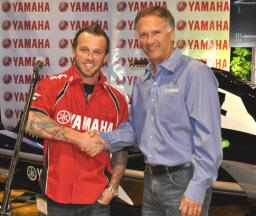 Dustin Farthing (right) with Yamaha WaterCraft racing director and product manager Scott Watkins.