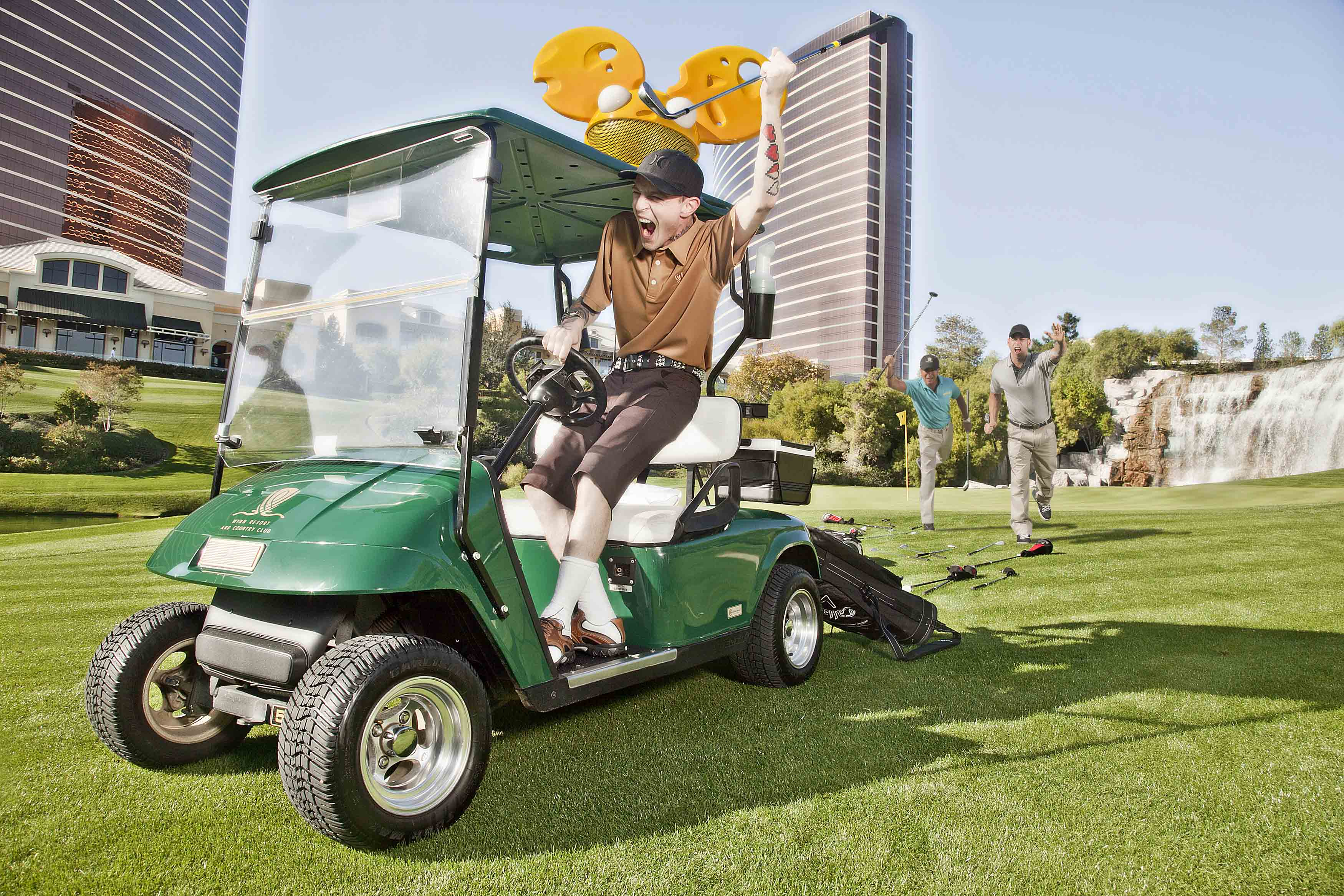 Electronic artist deadmau5 tries his shot as a golf caddie during his job search at Wynn Las Vegas. Deadmau5 has developed an exclusive partnership for 2012 with XS, Encore Beach Club, and Wynn Las Vegas. Photo credit: Brian Brown Photography.