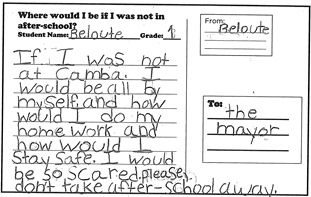 Children wrote postcards to tell the Mayor why after-school is important to them.