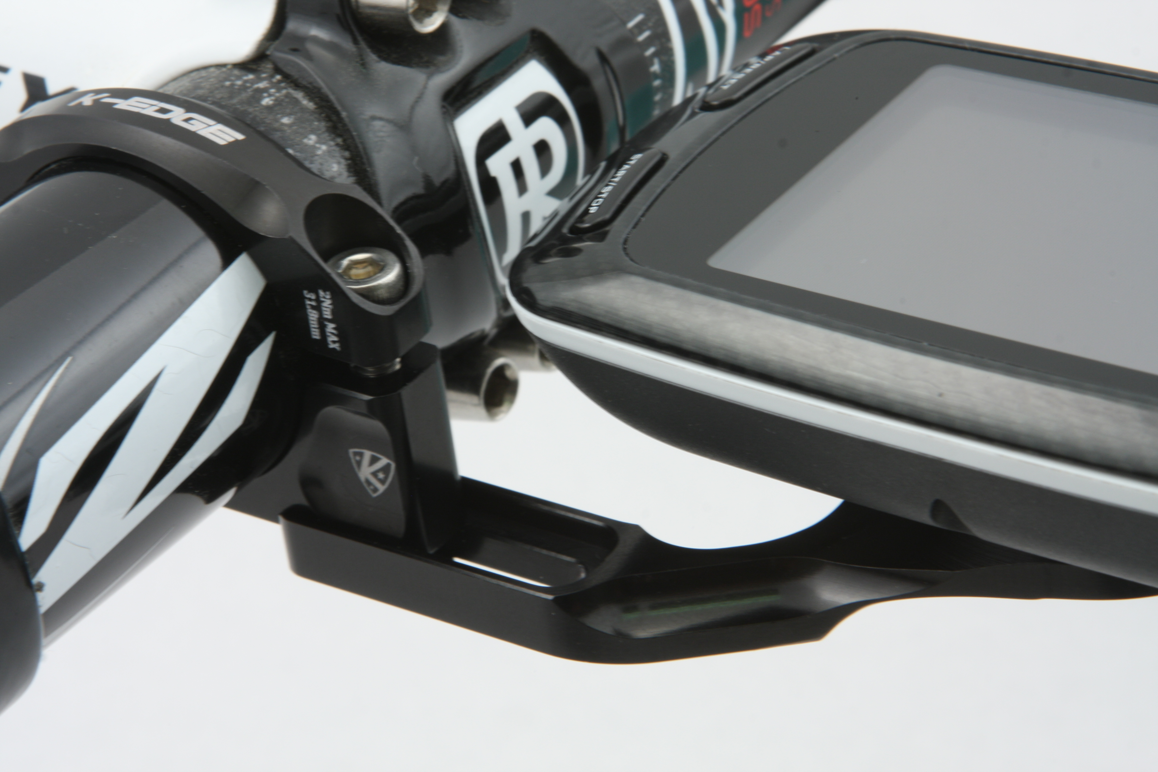 K-Edge computer mount for Garmin sits flush with bars and is adjustable for 200/500 and 800 models.