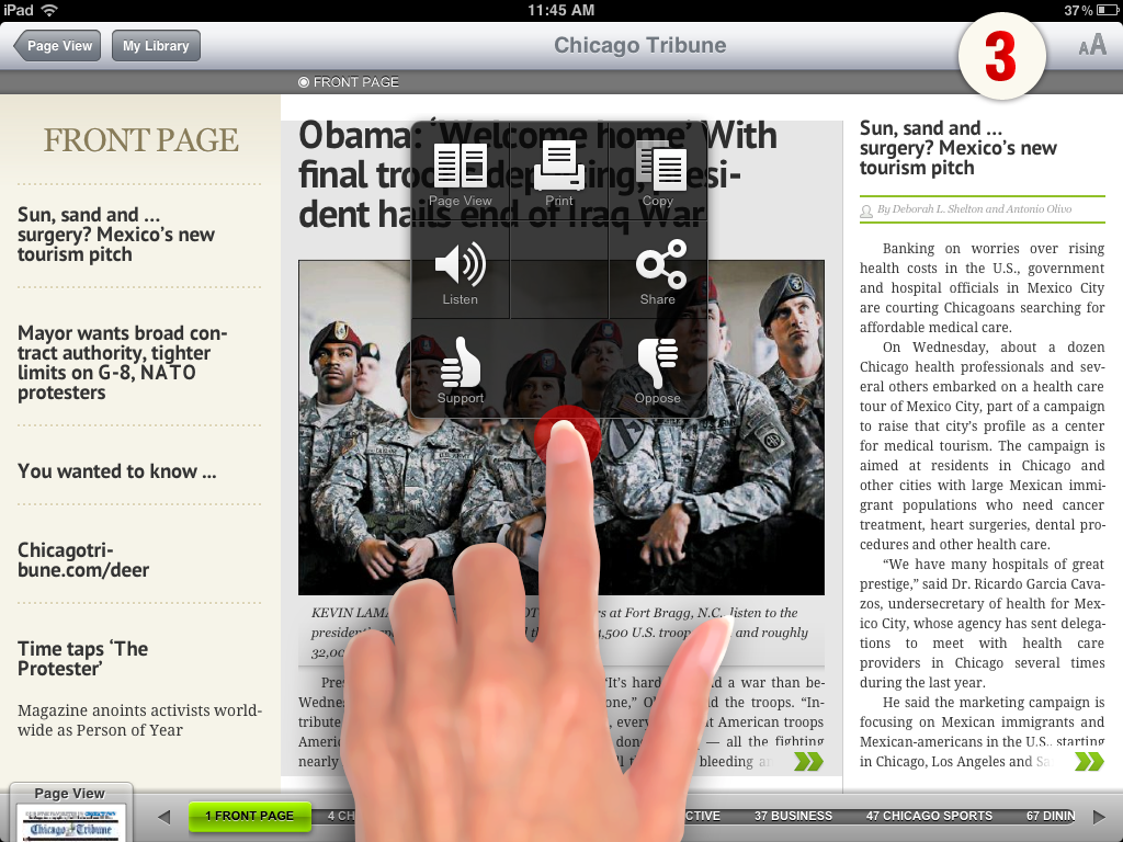 Touch-enabled printing and sharing is another innovation to be added in the next version of PressReader.