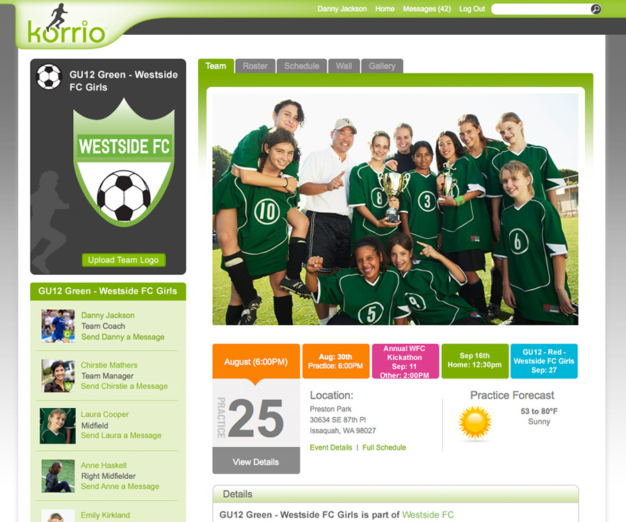 Korrio Team Page