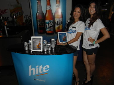 Hite Beer Models ready to serve samples at the Dodger Stadium!