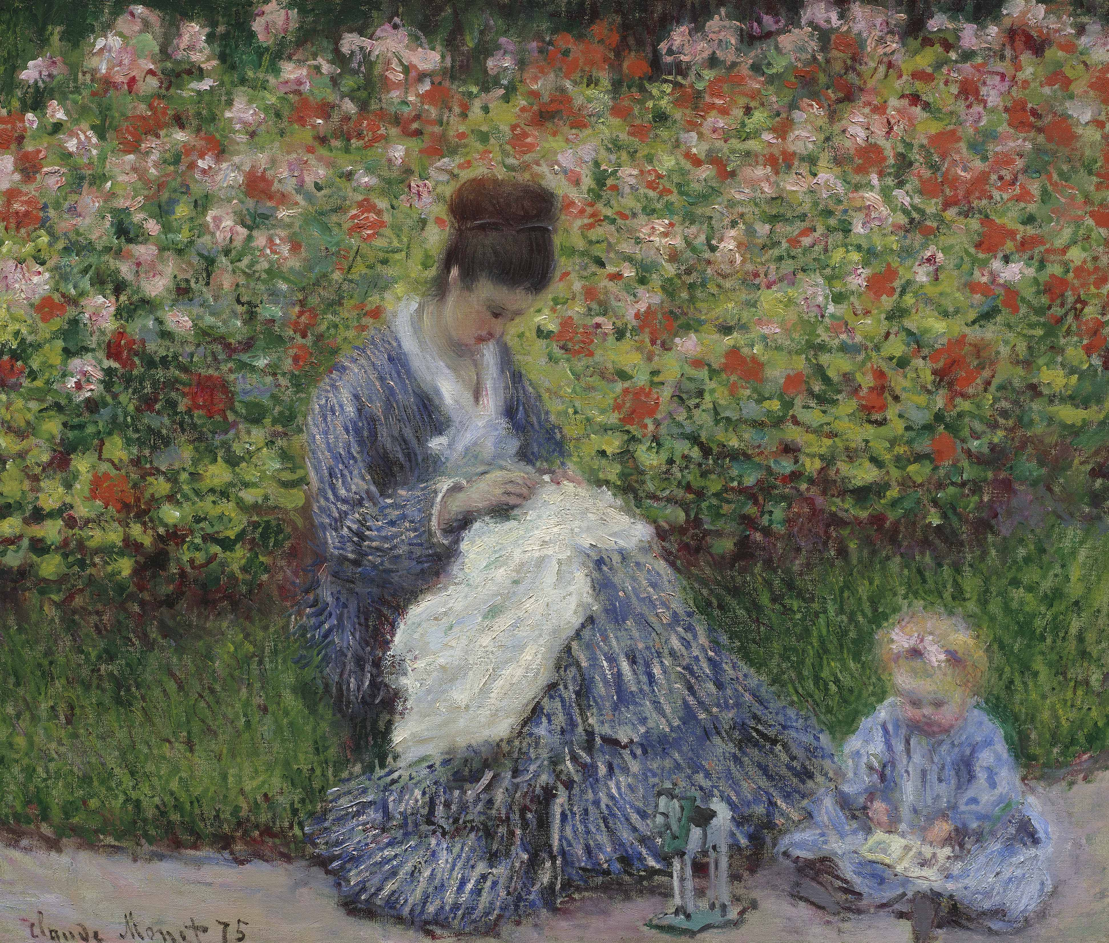 Claude Monet, Camille Monet and a Child in the Artist&#39;s Garden in Argenteuil, 1875,