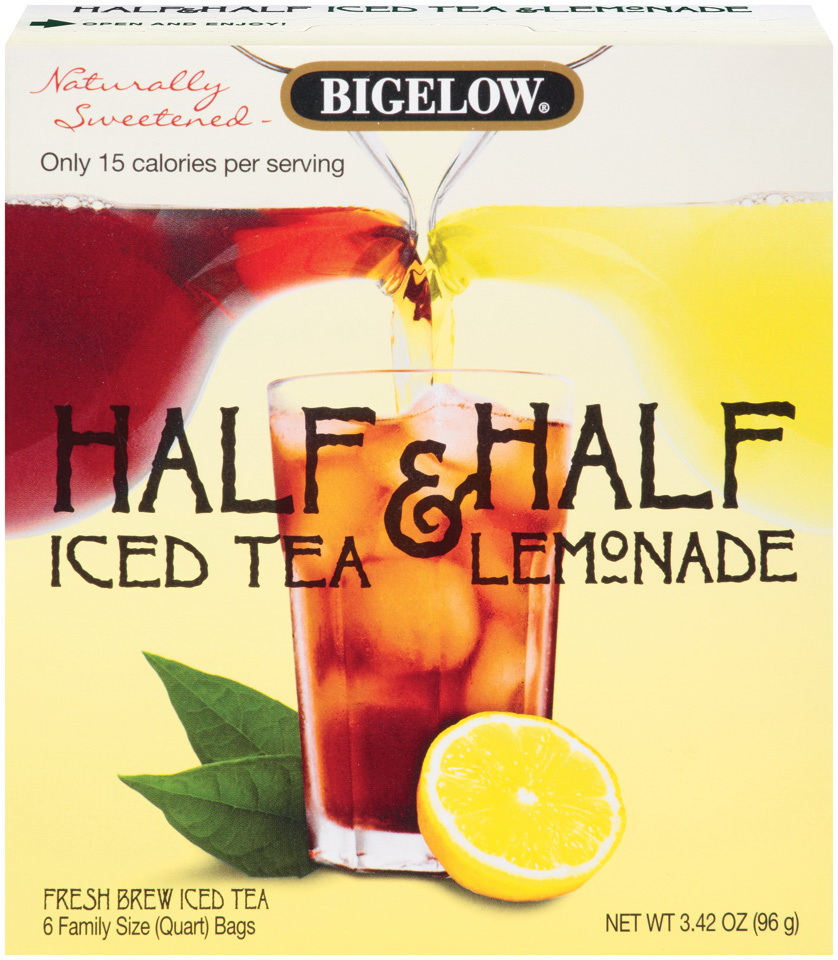 "Bigelow Half & Half Iced Teas are the first fresh brew iced tea bags to hit the market, answering the high demand for the ""half & half"" experience in a fresh, new way."