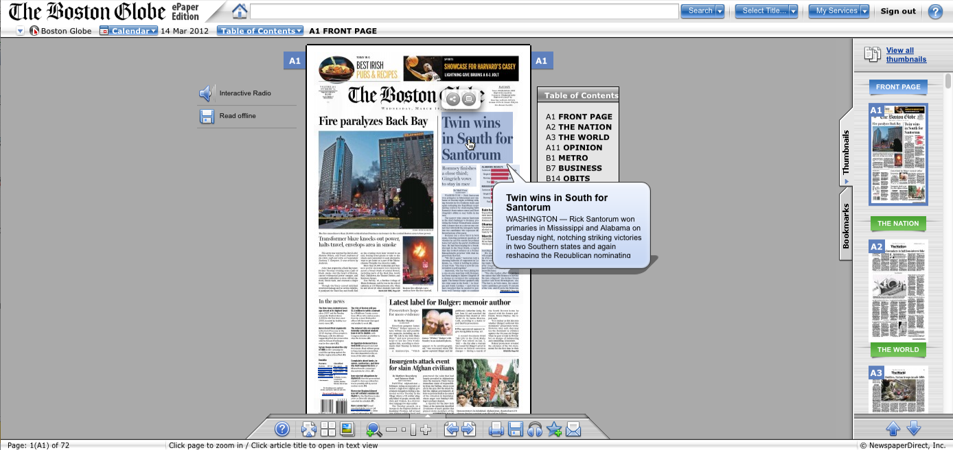 The Boston Globe ePaper web application with text-to-speech capabilities