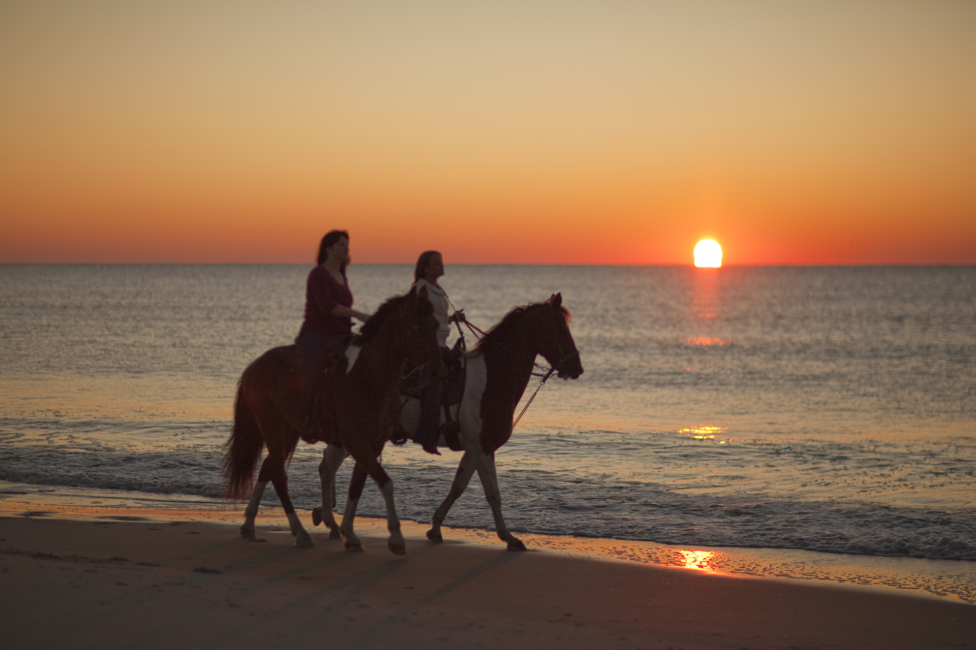 Sunset On Horseback Over Myrtle Beach