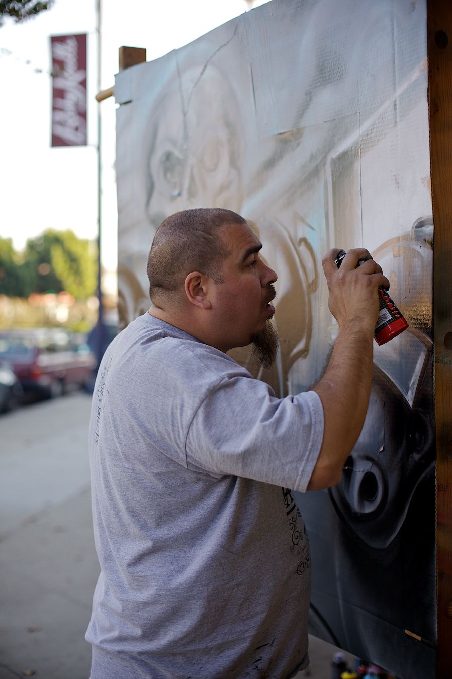 Eric &quot;Mural&quot; Martinez, a driving force behind BlackBook Sessions, demonstrates his skills during the organizations latest art event and contest, held recently in Long Beach, Calif.