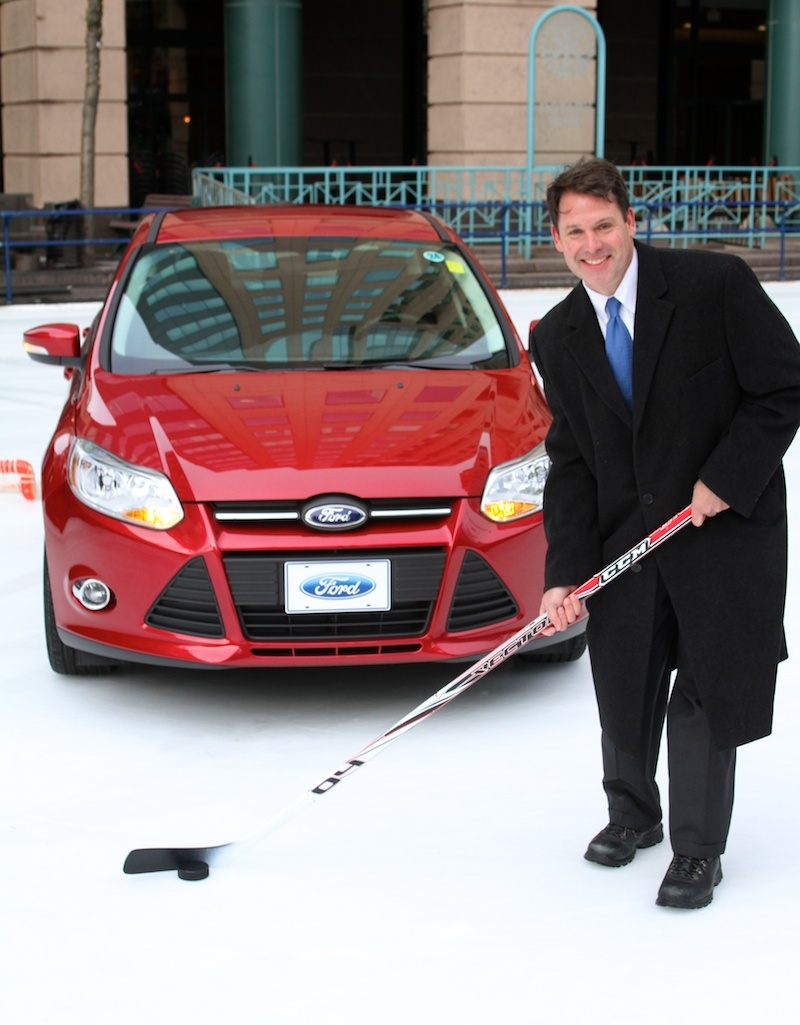 Frank Downing, representing the WNY Ford Dealers, announced details of the 2012 Ford Focus Hockey Shootout.