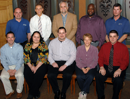 Photo Caption - Pictured (back row, L-R): Nick Wenzel, Steven Tannous, Rick Albrechta, Daryon Smedley, Larry Leech. (front row, L-R): Chris Calnon, Zona Smitley, Matthew Young, Julie Blair, Joe Safick