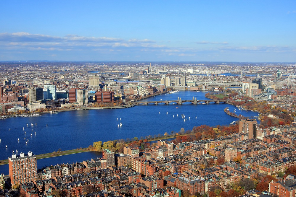 Your bird's eye view of Boston & Cambridge fall skylines from a private helicopter.