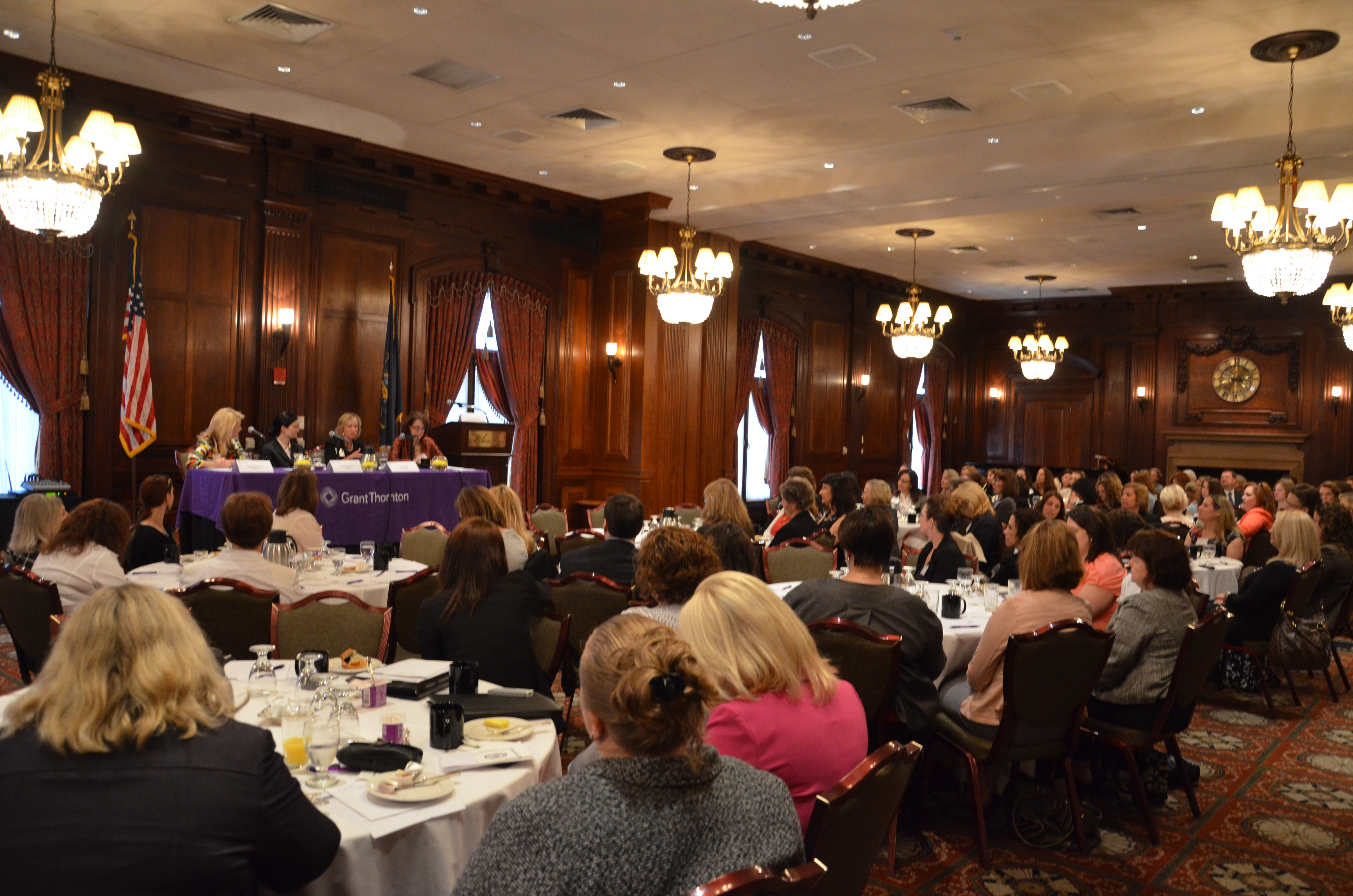 It wasn't just women who attended last week's women's leadership event; a large turnout of women and men listen to the panelists and enjoy breakfast in the Union League's Grant Room.
