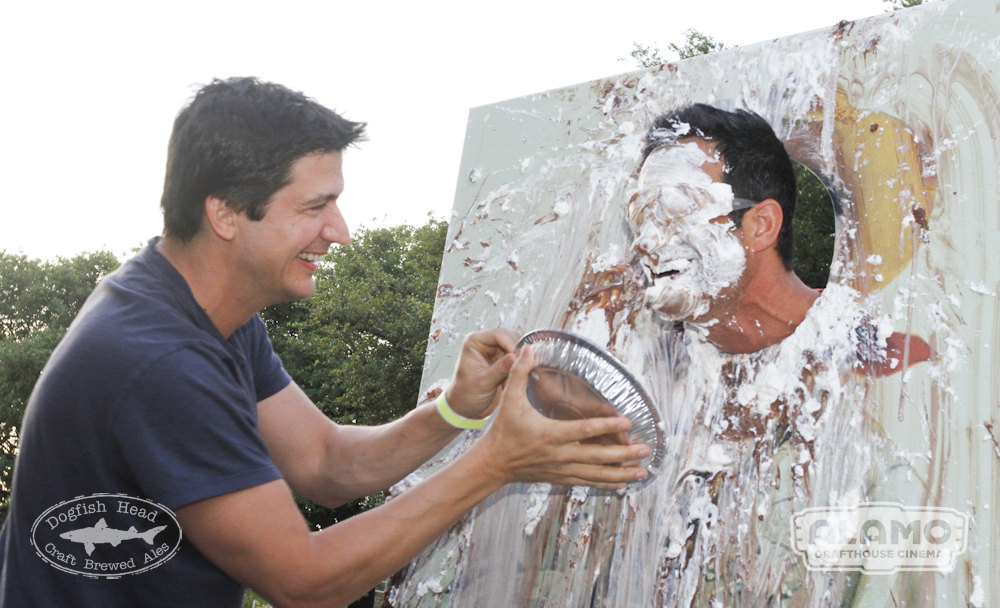 Actor Ken Marino pies Sam Calagione point-blank.
