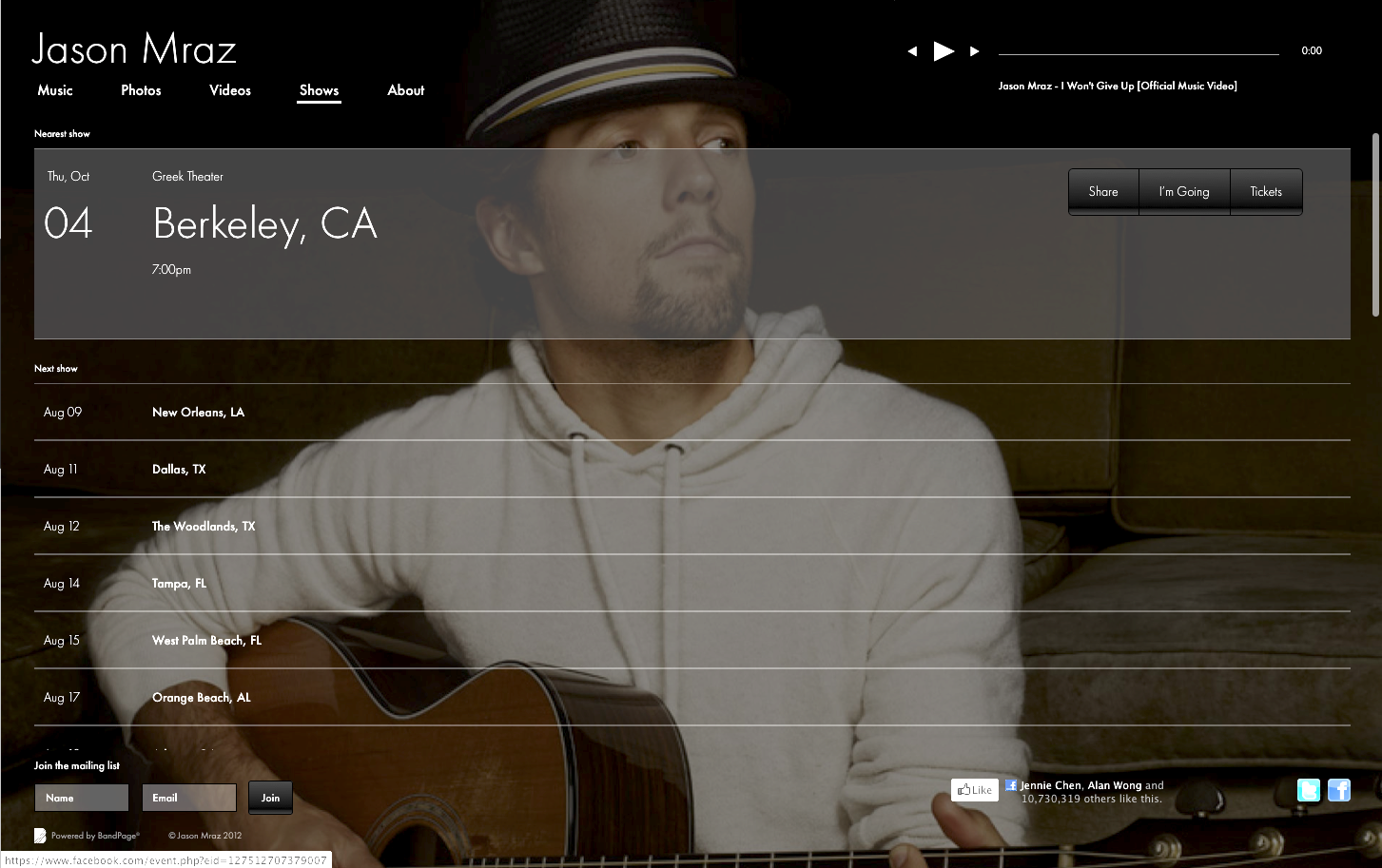 Jason Mraz - Website Extension