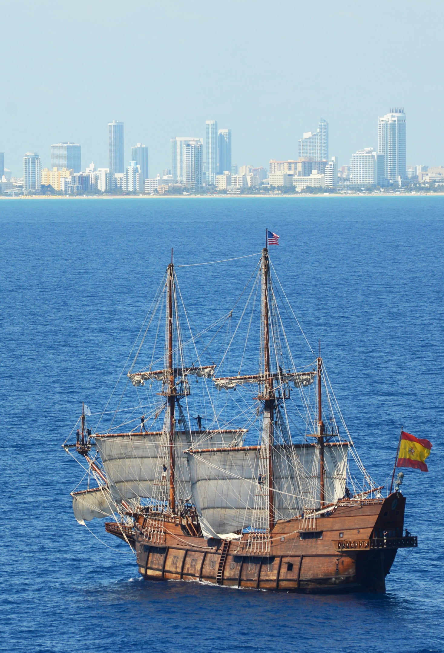 El Galeón arrives in Miami after sailing from Spain to commemorate 500 years since Spaniard Juan Ponce de Leon claimed La Florida for Spain. The ship will sail Florida's east coast through June 3, stopping at four ports for public tours. Credit: Peter W. Cross/VISIT FLORIDA
